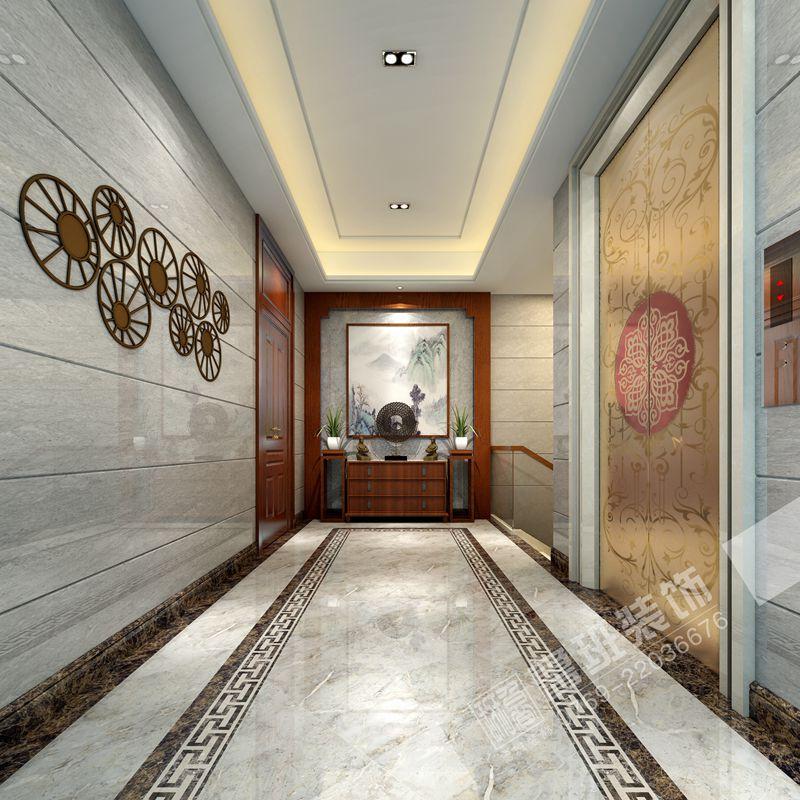 鼎峰源著新中式风格别墅装修案例图-鲁班装饰