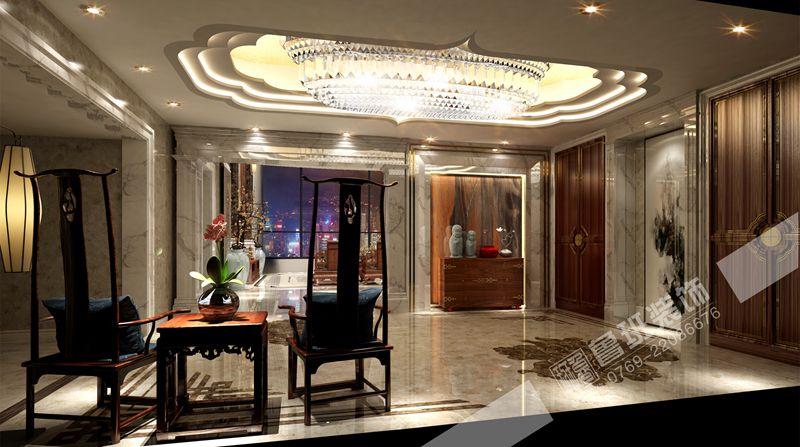 海逸豪庭新中式风格别墅装修案例图-鲁班装饰